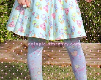 "Mint ""IceCreamy Bearcones"" Skirt"