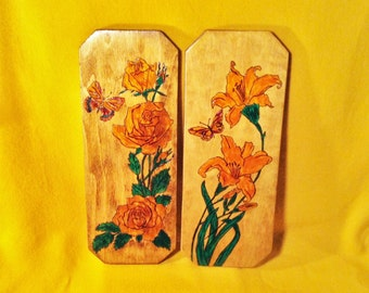 Set of 2 Hand Painted Flower Wood Plaques - Rose & Lily Flowers with Butterflies - Carved and Painted Rustic Pictures