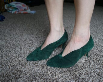 Emerald Green Kitten Heels // Vintage Carriage Court Patricia Heels // Women's Size 8