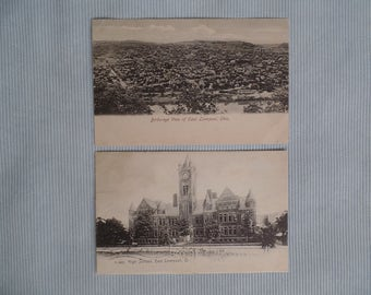 Vintage Postcards: East Liverpool OH - Bird's Eye View & High School, Postmarked 1906, Undivided Back