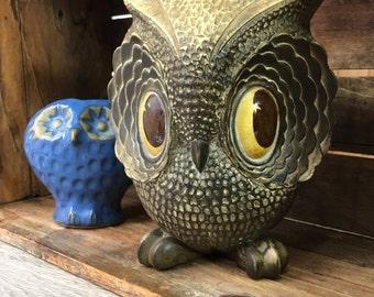 Retro Big Eyed Owl Figurine, Resin, Vintage Owl Home Decor