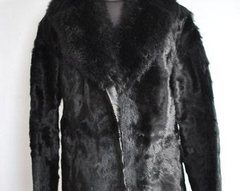 Vintage COW HIDE fur jacket with lamb fur collar .............(267)