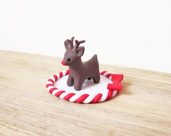 Rudolph Cake Topper / Reindeer Christmas Cake Topper / Reindeer Christmas Miniature Ornament / Reindeer Christmas Cake Decoration