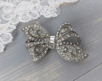 Art Deco Rhinestone Bow Dress Brooch, Vintage 1920's Paste Brooch, Rhinestone, Bow, Wedding, Bridal Brooch, Diamante, Wedding Brooch, Ribbon