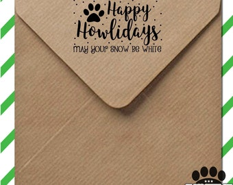 Holiday stamp from the whole pack! Paw prints & snowflakes - perfect DIY Christmas letters - wood mounted stamp with handle or self inking