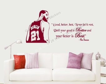 Tim Duncan Quotes Wall Stickers Basketball Quotes inspirational Quotes wall decals Removable Vinyl Art