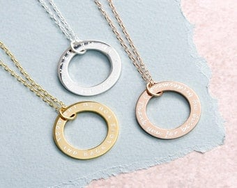 Large Personalised Circle Necklace 25mm - Circle Link Necklace - Customised Necklace - Anniversary Necklace - Gift For Her