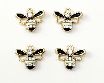 4 bee charms, gold tone enamel&strass  14mm  #Ch 037