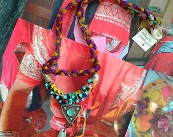 Tibet inspired Necklace***vintage slik sari***HANDMADE