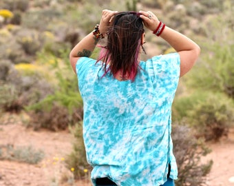 Tie Dye Loose Fitting Poncho Top,  Flowy Top, Trippy Bali Cover Up, Hippie Ladies Clothes