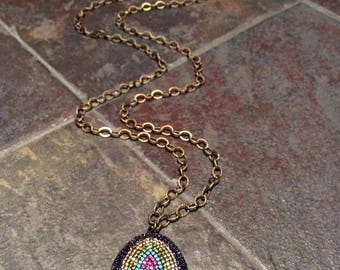 Multicolored crystal studded pendant necklace