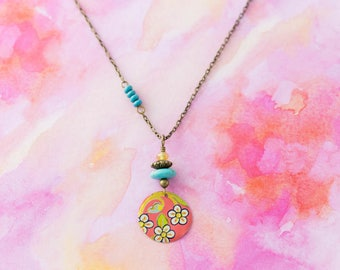 Floral Flower Vintage Tin Pendant Asymmetrical Charm Necklace with Turquoise Beads and Antique Brass Chain Jewelry