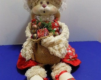 Rare Ceramic Christmas Bunny Rabbit Rag Rope Hand Made Doll Girl Holiday Girl Gifts Collectors