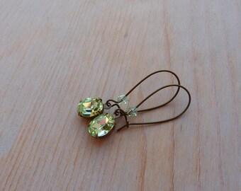 SpringBling . earrings,vintage jewels,light green,crysolithe,pure,long earrings,brass,swarovski,oval,kidney,spring,bling,gift under 20