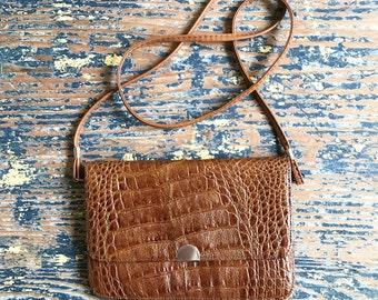 1970s Crocodile Print Genuine Leather Purse / Crossbody Bag