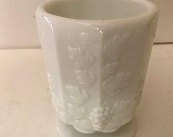 Vintage White Milk Glass Westmoreland  pedestal Vase Grape Leaf Pattern- Nice
