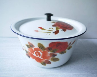 Beautiful Chippy Enamelware Bowl, With Floral Stencil Pattern