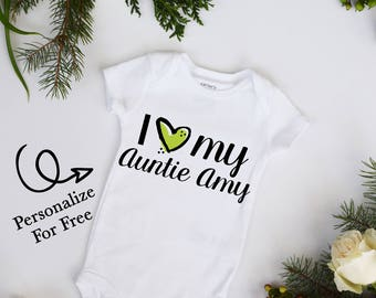 I Love My Aunt CUSTOMIZE NAME Heart Baby Neutral Bodysuit