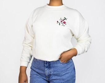 90s Floral Embroidered Cream Sweatshirt