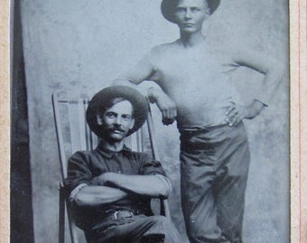 American Frontiersmen - Unique 1880's Tough Guys Tintype Photograph - Free Shipping