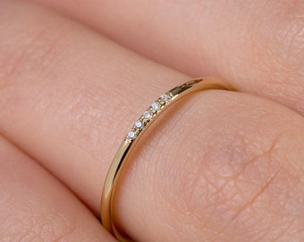 5 diamonds Knuckle ring, Ultra thin ring, Delicate diamond ring, Skinny ring,  Extra thin band, Diamond ring, Diamonds,   Rose thin ring