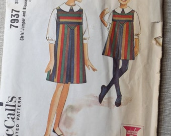 Helen Lee Design Girl's High Waisted Jumper with V Front and Blouse Size 8 Vintage 60s McCall's Sewing Pattern 7937