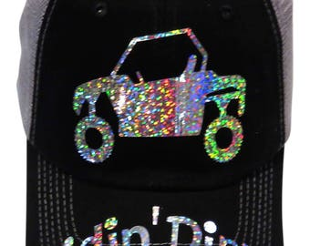 "NEW DESIGN! Silver Iridescent Metallic ""Ridin' Dirty""ATV/Buggy Black/Grey Trucker Cap"
