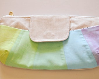 Zippered Clutch | Evening bag | zipper pouch | Travel Bag | Cosmetic Bag | Makeup Bag | Overnight Tote | Rainbow Clutch | Small Purse | Tote