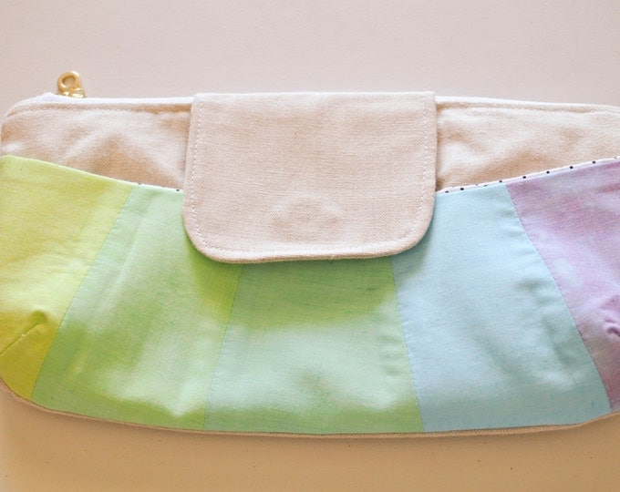 Featured listing image: Zippered Clutch   Evening bag   zipper pouch   Travel Bag   Cosmetic Bag   Makeup Bag   Overnight Tote   Rainbow Clutch   Small Purse   Tote