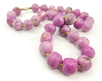 Vintage Pink Bead Necklace, Ceramic Beads, African Beads, Gold Tone Beads