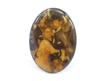 Vintage Renoir Print Brooch, Dance at le moulin de la galette