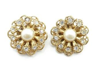 Vintage Rhinestone Flower Earrings, Filigree, Faux Pearl, Gold Tone, Signed