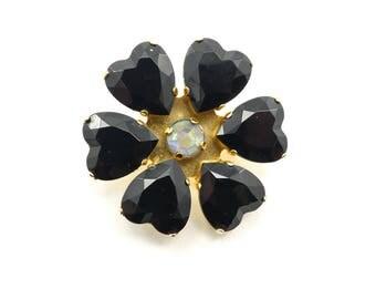 Vintage Black Flower Brooch, Lucite