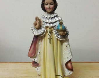 Beautiful Vintage Infant of Prague Chalkware Statue