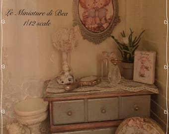 1:12 picture 6.5x4cm antiche style hand made dollshouse miniatures by Bea