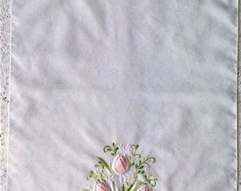 Pretty White & Pink Rosebud Tulip Embroidered and Applique Hand Kitchen Tea Towel