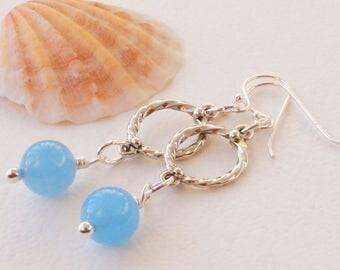 Blue earrings, jade earrings, azure blue and silver earrings, blue gemstone earrings, long earrings, nautical inspired, holiday earrings