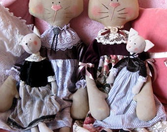 Cat doll Shabby chic doll Stuffed cat doll OOAK Cloth doll cat Soft toy Vintage Textile doll cat French country cottage Cat lover gift