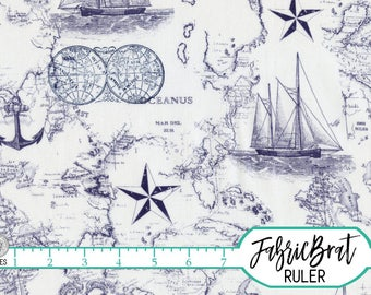 NAUTICAL MAP Fabric by the Yard Fat Quarter Navy Blue Sea Fabric Anchor Ship Fabric 100% Cotton Fabric Quilting Fabric Apparel Fabric a5-37