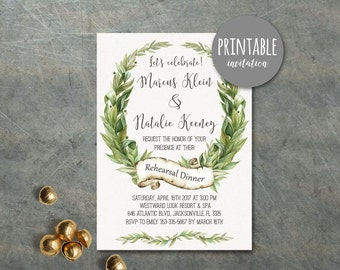 Wedding Rehearsal Dinner Invitation, Rehearsal Invitation Printable, Green Botanical rehearsal Invitation, Greenery Rehearsal Invite Leaf