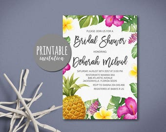 Tropical Bridal Shower Invitation, Pineapple Bridal Shower Invitation, Floral Bridal Shower Invitation Summer Luau Bridal Shower Invite