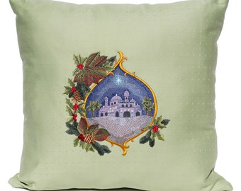 Christmas Pillow - City of Bethlehem - Star of Bethlehem - Christmas Star - Holly - Holiday Pillow - Green - Red - Embroidered - Embroidery