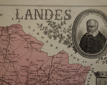 LANDES old map of Landes departement - 1874 beautiful antique hand-colored poster about Mont de Marsan Dax Biscarrosse - vintage maps France