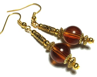 Amber Earrings, Handmade10mm Glass Beads, Vintage Gold Tone - Hooks, Clip-On,  or Butterfly Studs (ET9-13)