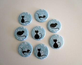 Cat Refrigerator Magnet Set - Black Cat Fridge Magnets - Aqua Blue Kitchen Magnets - Cat Lover Gift - Office Decor - Housewarming Gift