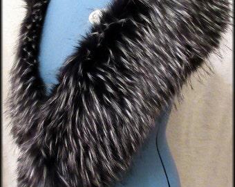Luxury Long Pile , Black and White Faux Fur Stole