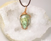 Green Labradorite necklace, Layer necklace, Wire wrapped Labradorite pendant, Healing stone jewelry, Spectrolite Pendant, Gemstone necklace
