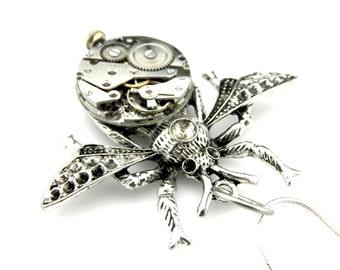Steampunk Wasp Pendant - Edwardian Steampunk - Clockpunk Wasp - Steampunk gift idea