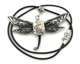 Techie Dragonfly Pendant - Watch Insect Pendant (mechanical watch movement) Steampunk Inspired gift idea
