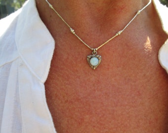 Opal and Sterling Heart Necklace